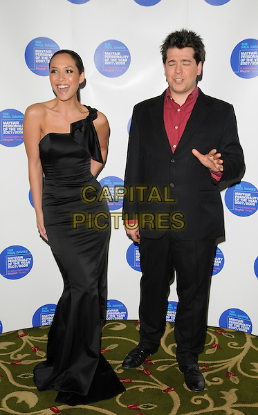 MYLEENE KLASS & MICHAEL McINTYRE.Attend the Mayfair Personality Of The Year Awards,  Grosvenor House Hotel, London, England, March 12th 2008..full length black dress one shoulder suit hand red shirt fishtail gown .CAP/CAN.©Can Nguyen/Capital Pictures
