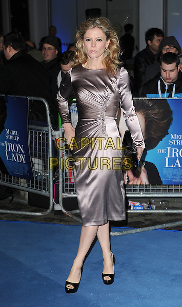 Emilia Fox.'The Iron Lady' European Film Premiere at BFI cinema, Southbank, London, England..4th January 2012.full length silver silk satin ruched dress black clutch bag.CAP/BEL.©Tom Belcher/Capital Pictures.