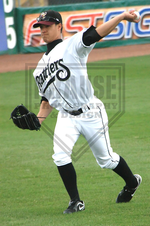 APPLETON - APRIL 2010: Efrain Nieves of the Wisconsin Timber Rattlers, Class-A affiliate of the Milwaukee Brewers, warms up prior to a game on April 10, 2010 at Fox Cities Stadium in Appleton, Wisconsin. (Photo by Brad Krause)