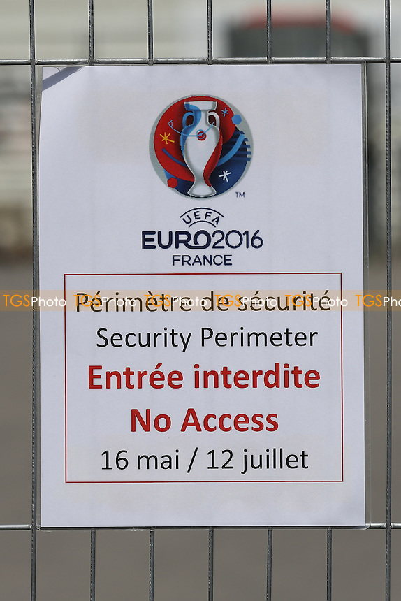 England v Russia to be played here on Sat 11th June 2016. Security fencing has already been erected around the Stadium. Stadiums tours have now been cancelled until after the Euro's and no entry allowed for the public beyond the perimeter fencing during a visit to the Stade Velodrome, home of Olympique de Marseille ahead of UEFA Euro 2016 on 22nd May 2016