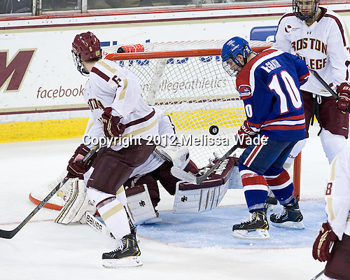 Patrick Wey (BC - 6), Ryan McGrath (UML - 10), Isaac MacLeod (BC - 7) - The Boston College Eagles defeated the visiting University of Massachusetts Lowell River Hawks 6-3 on Sunday, October 28, 2012, at Kelley Rink in Conte Forum in Chestnut Hill, Massachusetts.