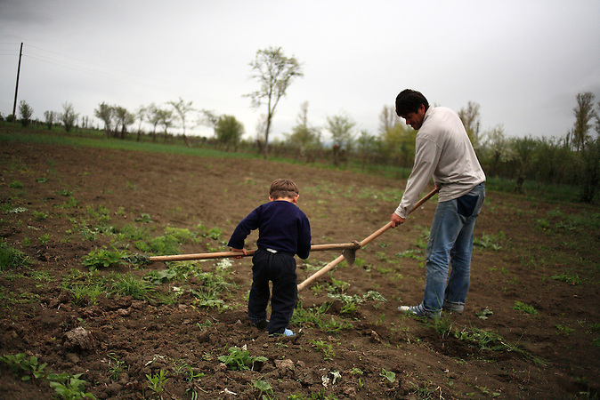 Ein Meschete bearbeitet den Boden in Tsitelubani / A Meskhetian working the soil in Tsitelubani, Georgia.