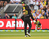 10th February 2018, Melbourne Cricket Ground, Melbourne, Australia; International Twenty20 Cricket, Australia versus England; David Warner and Marcus Stoinis of Australia celebrates the wicket of  Dawid Malan of England