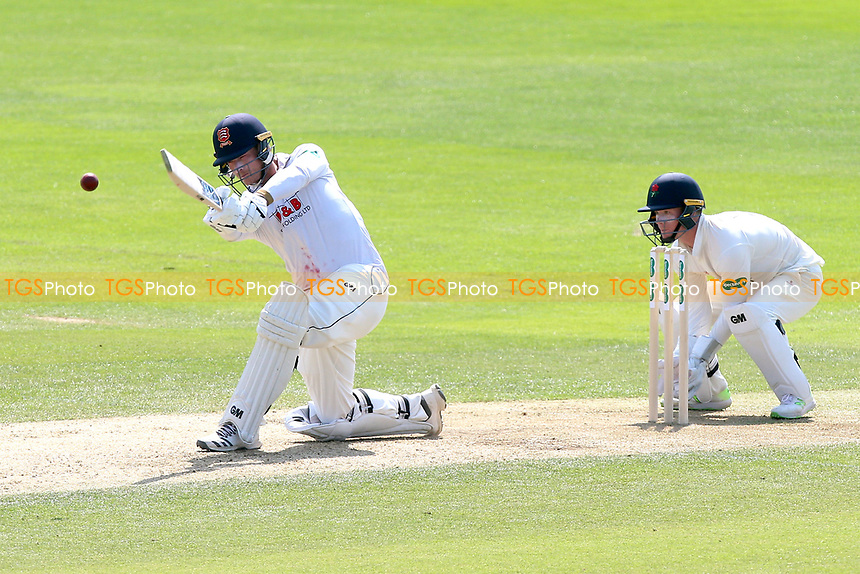 Tom Westley hits 4 runs for Essex as Alex Davies looks on from behind the stumps during Essex CCC vs Lancashire CCC, Specsavers County Championship Division 1 Cricket at The Cloudfm County Ground on 21st April 2018