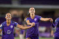 Orlando, FL - Saturday July 15, 2017: Kristen Edmonds, Alex Morgan celebrate during a regular season National Women's Soccer League (NWSL) match between the Orlando Pride and FC Kansas City at Orlando City Stadium.