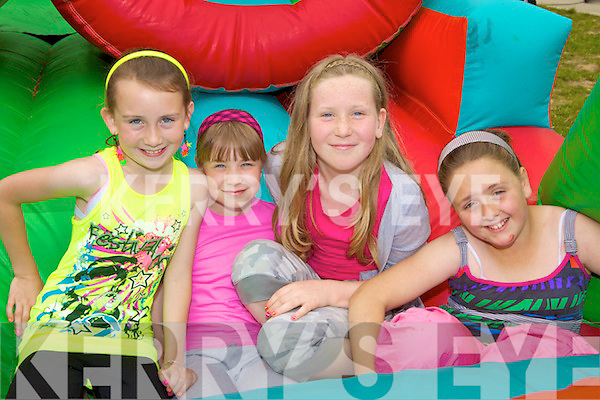 BOUNCING: Having fun on the bouncy castle at Athea national school on Thursday, l-r: Katelyn O'Connor, Molly Clooney, Amy O'Riordan, Erin Mulvihill.