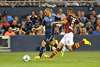 Sporting Park, Kansas City, Kansas, July 31 2013:<br /> Marco Di Valo (9) forward MLS All-Stars ,  Leandro Castan (5) defender AS Roma.<br /> MLS All-Stars were defeated 3-1 by AS Roma at Sporting Park, Kansas City, KS in the 2013 AT & T All-Star game.