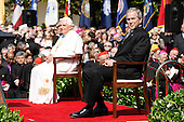 Pope Benedict XVI sits with U.S. President George W. Bush during a welcoming ceremony on the South Lawn of the White House in Washington, DC, USA on Wednesday 16 April 2008. The Pope, who is celebrating his 81st birthday today, is on a six day visit to the U.S.