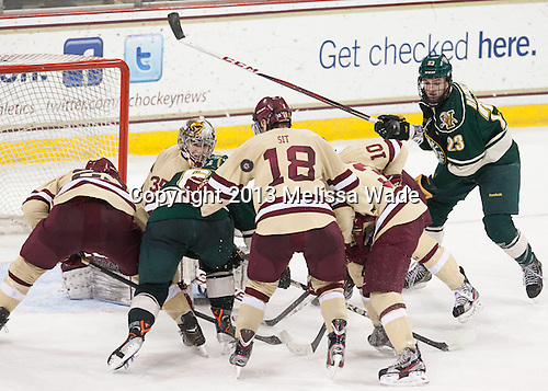 Patrick Brown (BC - 23), Parker Milner (BC - 35), Colin Markison (UVM - 6), Michael Sit (BC - 18), Patch Alber (BC - 3), Danny Linell (BC - 10), Connor Brickley (UVM - 23) - The Boston College Eagles defeated the visiting University of Vermont Catamounts 4-2 (EN) in the first game of their best of three Hockey East quarterfinal matchup on Friday, March 15, 2013, at Kelley Rink in Conte Forum in Chestnut Hill, Massachusetts.