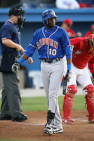 September 3, 2009:  Markus Brisker (10) of the Auburn Doubledays during a game at Dwyer Stadium in Batavia, NY.  Auburn is the Short-Season Class-A affiliate of the Toronto Blue Jays.  Photo By Mike Janes/Four Seam Images