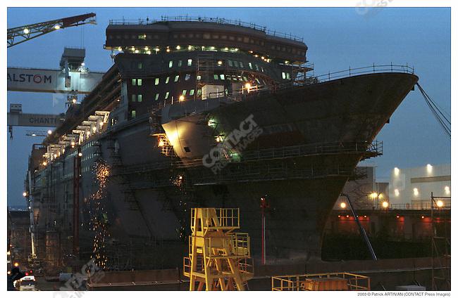 Construction of Queen Mary 2, Alstom Marine, Chantiers de l'Atlantique, Saint-Nazaire, France, February 2003