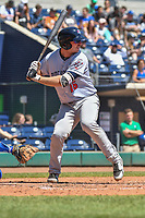 Peter Alonso (16) of the Binghamton Rumble Ponies bats during a game against the Hartford Yard Goats at Dunkin Donuts Park on May 9, 2018 in Hartford, Connecticut.<br /> (Gregory Vasil/Four Seam Images)
