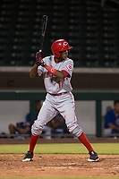 AZL Reds shortstop Ranser Amador (17) at bat during an Arizona League game against the AZL Cubs 1 at Sloan Park on July 13, 2018 in Mesa, Arizona. The AZL Cubs 1 defeated the AZL Reds 4-1. (Zachary Lucy/Four Seam Images)