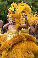 Women in bright costume, perform the traditional high-energy Tahitian dance.
