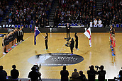7th September 2017, Te Rauparaha Arena, Wellington, New Zealand; Taini Jamison Netball Trophy; New Zealand versus England;  The Silver Ferns (L) with England stand for the national anthems