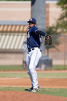 San Diego Padres third baseman Fernando Tatis, Jr. (23) during an Instructional League game against the Milwaukee Brewers on September 27, 2017 at Peoria Sports Complex in Peoria, Arizona. (Zachary Lucy/Four Seam Images)