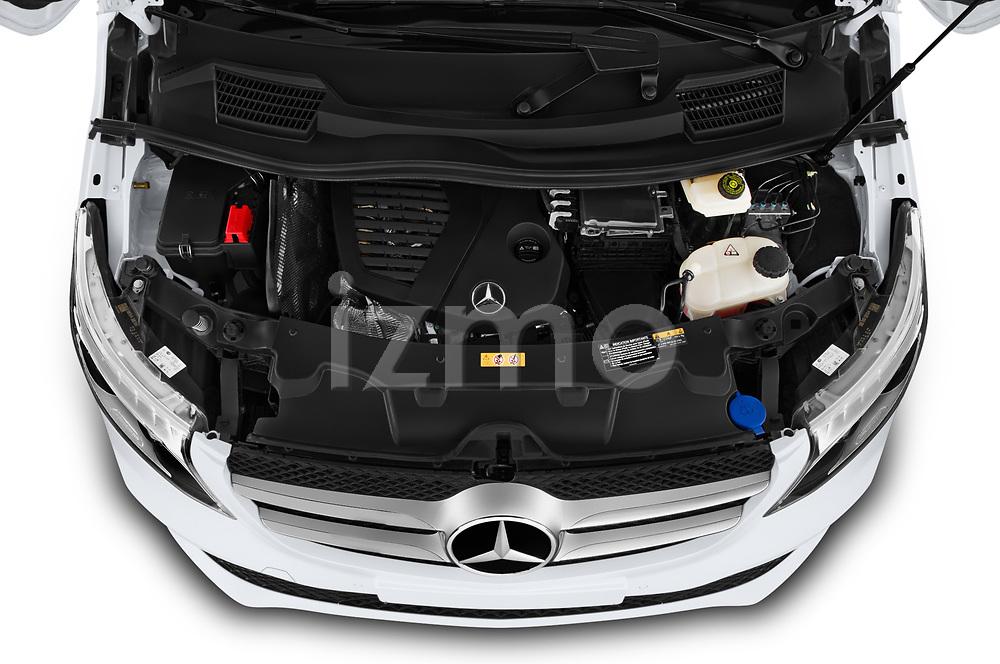 Car stock 2020 Mercedes Benz V-class Avantgarde 5 Door Mini Van engine high angle detail view