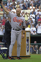 Baltimore's Cal Ripken says goodbye to Kansas City in opening ceremonies honoring him in his last appearance at Kauffman Stadium in Kansas City Missouri on August 9, 2001.  The Royals won 6-4.