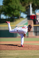 Scottsdale Scorpions relief pitcher Luke Leftwich (44), of the Philadelphia Phillies organization, follows through on his delivery during an Arizona Fall League game against the Mesa Solar Sox at Scottsdale Stadium on November 2, 2018 in Scottsdale, Arizona. The shortened seven-inning game ended in a 1-1 tie. (Zachary Lucy/Four Seam Images)