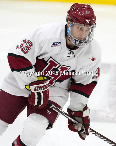 Jack Badini (Harvard - 33) - The visiting Colgate University Raiders shut out the Harvard University Crimson for a 2-0 win on Saturday, January 27, 2018, at Bright-Landry Hockey Center in Boston, Massachusetts.