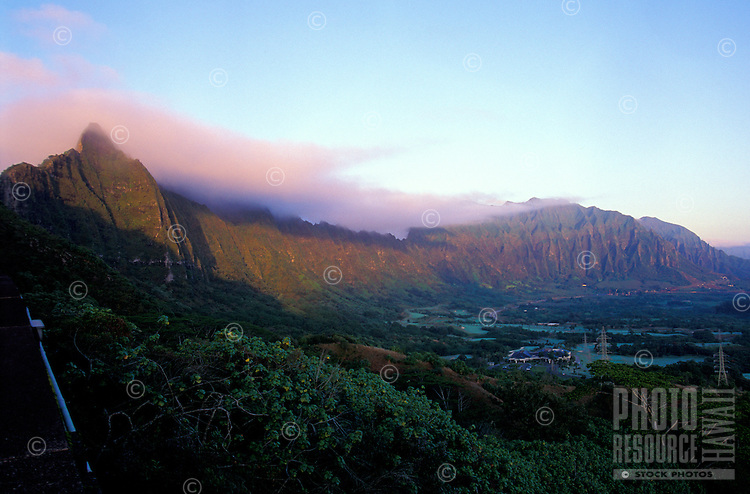 Koolau mountain range from the pali road at dawn