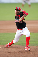 Batavia Muckdogs pitcher LaCurtis Mayes (21) during a game vs. the Jamestown Jammers at Dwyer Stadium in Batavia, New York July 17, 2010.   Jamestown defeated Batavia 5-2.  Photo By Mike Janes/Four Seam Images