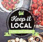 Keep It Local, East of England Co-operative Society shop advertising boards hoardings, Woodbridge, Suffolk, UK