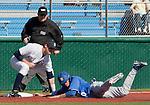 March 10, 2012:   Nevada Wolf Pack third baseman Garrett Yrigoyen tags out UC Santa Barbara Gauchos Lance Roenick during their NCAA baseball game played at Peccole Park on Saturday afternoon in Reno, Nevada.