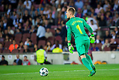 12th September 2017, Camp Nou, Barcelona, Spain; UEFA Champions League Group stage, FC Barcelona versus Juventus; Marc Andre Ter Stegen of FC Barcelona passes the ball out of his box