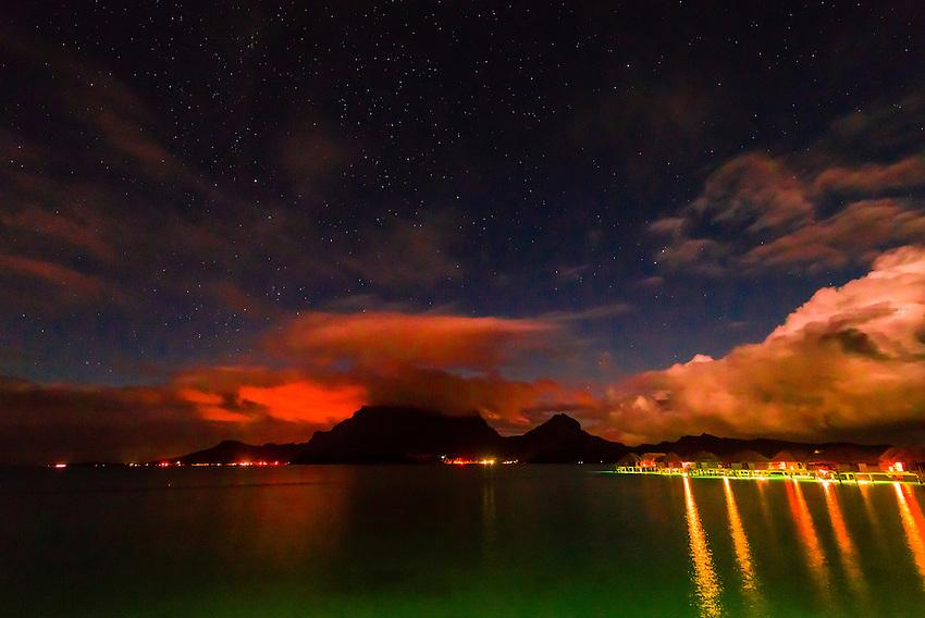 Mount Otemanu and Mount Pahia (an extinct volcano), Bora Bora, French Polynesia.