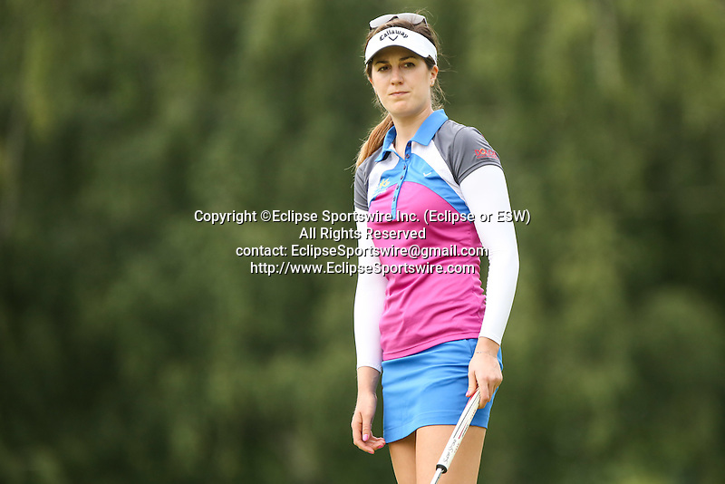 Sandra Gal watches her putt on the 10th green at the LPGA Championship 2014 Sponsored By Wegmans at Monroe Golf Club in Pittsford, New York on August 16, 2014