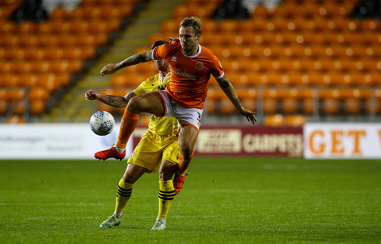 Blackpool's Nick Anderton battles with Morecambe's Cole Stockton<br /> <br /> Photographer Alex Dodd/CameraSport<br /> <br /> EFL Leasing.com Trophy - Northern Section - Group G - Blackpool v Morecambe - Tuesday 3rd September 2019 - Bloomfield Road - Blackpool<br />  <br /> World Copyright © 2018 CameraSport. All rights reserved. 43 Linden Ave. Countesthorpe. Leicester. England. LE8 5PG - Tel: +44 (0) 116 277 4147 - admin@camerasport.com - www.camerasport.com