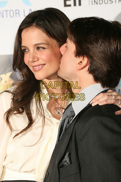 KATIE HOLMES & TOM CRUISE.Mentor LA's Promise Gala Honoring Tom Cruise at 20th Century Fox Studios, Century City, California, USA..March 22nd, 2007.half length married husband wife black grey gray suit waistcoat white blouse kiss.CAP/ADM/BP.©Byron Purvis/AdMedia/Capital Pictures