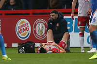 Injury concern for Kelland Watts of Stevenage during Stevenage vs Peterborough United, Emirates FA Cup Football at the Lamex Stadium on 9th November 2019