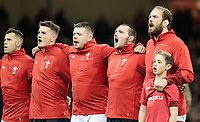 Wales' Alun Wyn Jones sings the national anthem<br /> <br /> Photographer Simon King/CameraSport<br /> <br /> International Rugby Union - 2017 Under Armour Series Autumn Internationals - Wales v Australia - Saturday 11th November 2017 - Principality Stadium - Cardiff<br /> <br /> World Copyright &copy; 2017 CameraSport. All rights reserved. 43 Linden Ave. Countesthorpe. Leicester. England. LE8 5PG - Tel: +44 (0) 116 277 4147 - admin@camerasport.com - www.camerasport.com