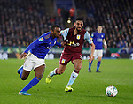Ricardo Pereira of Leicester City tussles with Neil Taylor of Aston Villa during the Carabao Cup match at the King Power Stadium, Leicester. Picture date: 8th January 2020. Picture credit should read: Darren Staples/Sportimage