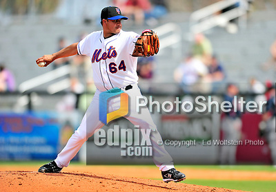 2 March 2010: New York Mets' relief pitcher Elmer Dessens on the mound against the Atlanta Braves during the Opening Day of Grapefruit League play at Tradition Field in Port St. Lucie, Florida. The Mets defeated the Braves 4-2 in Spring Training action. Mandatory Credit: Ed Wolfstein Photo