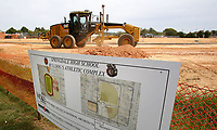 NWA Democrat-Gazette/DAVID GOTTSCHALK  Work continues Tuesday, September 12, 2017, on the new Springdale High School Bulldog's Athletic Complex south of the high school on Pleasant Street in Springdale. This part of the complex will have an exterior track with a full size soccer field on the infield. The northern part of the Athlectic Complex will have a softball and baseball faciiity.