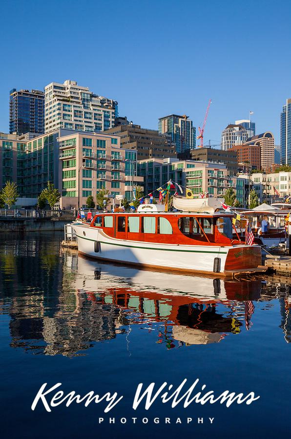 Classic Wooden Boats, Bell Harbor Marina, Port of Seattle, Washington State, WA, America, USA.
