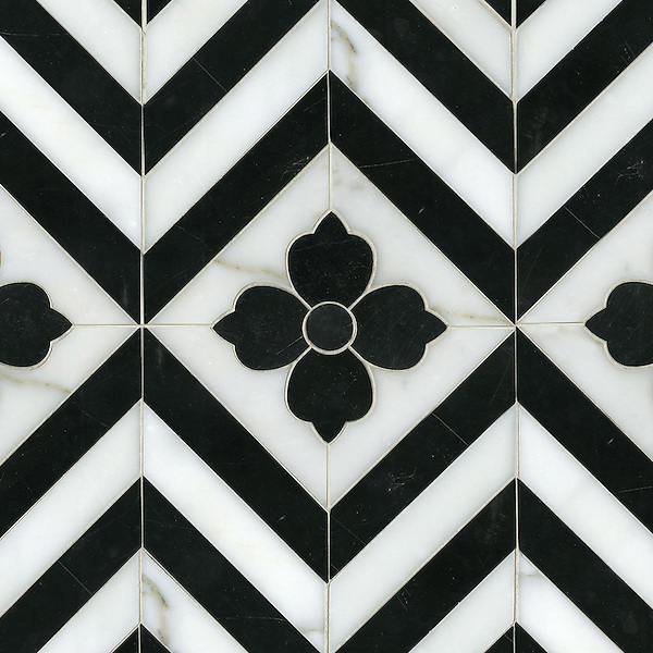 Maharaja 1, a hand-cut and waterjet stone mosaic, shown in polished Nero Marquina and honed Calacatta Tia, is part of the Silk Road Collection by Sara Baldwin for New Ravenna Mosaics.