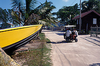 Golf carts and bicycles are the main forms of transportation on Caye Caulker, Belize
