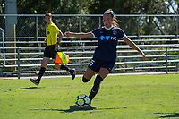 Sanford, FL - Saturday Oct. 14, 2017:  A courage player prepares to cross the ball during a US Soccer Girls' Development Academy match between Orlando Pride and NC Courage at Seminole Soccer Complex. The Courage defeated the Pride 3-1.
