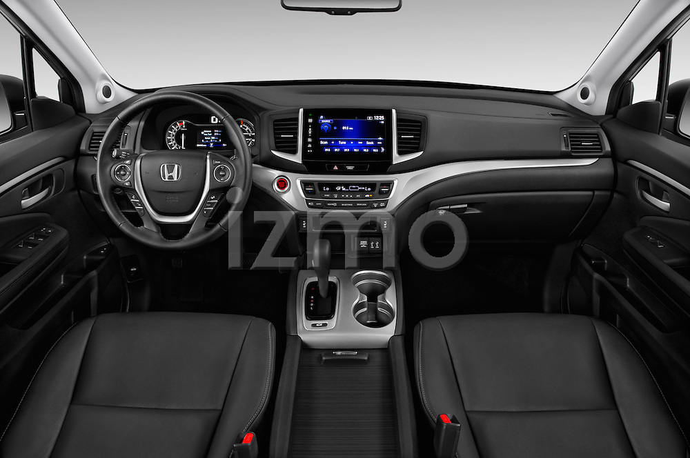 Stock photo of straight dashboard view of 2016 Honda Pilot EX-L 5 Door Suv Dashboard