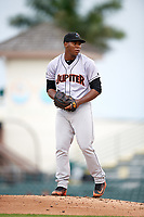Jupiter Hammerheads starting pitcher Jorge Guzman (10) gets ready to deliver a pitch during a game against the Bradenton Marauders on May 25, 2018 at LECOM Park in Bradenton, Florida.  Jupiter defeated Bradenton 3-2.  (Mike Janes/Four Seam Images)