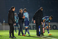 Paris Cowan-Hall of Wycombe Wanderers replaces Dayle Southwell of Wycombe Wanderers during the Sky Bet League 2 match between Wycombe Wanderers and Plymouth Argyle at Adams Park, High Wycombe, England on 14 March 2017. Photo by Kevin Prescod / PRiME Media Images.