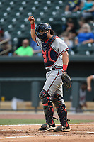 Catcher Lucas Herbert (7) of the Rome Braves in a game against the Columbia Fireflies on Sunday, July 2, 2017, at Spirit Communications Park in Columbia, South Carolina. Columbia won, 3-2. (Tom Priddy/Four Seam Images)