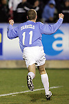 11 November 2005: North Carolina's Ben Hunter celebrates the first of his two goals, which gave UNC a 1-0 lead in the 55th minute. The University of North Carolina defeated Clemson University 2-0 at SAS Stadium in Cary, North Carolina in a semifinal of the 2005 ACC Men's Soccer Championship.