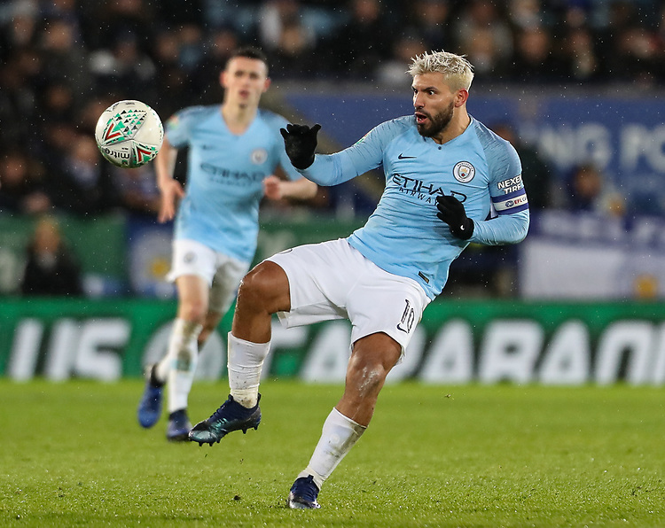 Manchester City's Sergio Aguero <br /> <br /> Photographer Andrew Kearns/CameraSport<br /> <br /> English League Cup - Carabao Cup Quarter Final - Leicester City v Manchester City - Tuesday 18th December 2018 - King Power Stadium - Leicester<br />  <br /> World Copyright © 2018 CameraSport. All rights reserved. 43 Linden Ave. Countesthorpe. Leicester. England. LE8 5PG - Tel: +44 (0) 116 277 4147 - admin@camerasport.com - www.camerasport.com