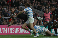 England's Nathan Hughes scores his sides first try <br /> <br /> Photographer Rachel Holborn/CameraSport<br /> <br /> International Rugby Union Friendly - Old Mutual Wealth Series Autumn Internationals 2017 - England v Argentina - Saturday 11th November 2017 - Twickenham Stadium - London<br /> <br /> World Copyright &copy; 2017 CameraSport. All rights reserved. 43 Linden Ave. Countesthorpe. Leicester. England. LE8 5PG - Tel: +44 (0) 116 277 4147 - admin@camerasport.com - www.camerasport.com