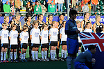 The Hague, Netherlands, June 05: Players of New Zealand line up prior to the field hockey group match (Women - Group A) between New Zealand and The Netherlands on June 5, 2014 during the World Cup 2014 at Kyocera Stadium in The Hague, Netherlands. Final score 0-2 (0-2) (Photo by Dirk Markgraf / www.265-images.com) *** Local caption ***